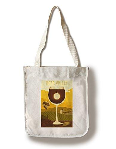 - Lantern Press Napa Valley, California - Wine Glass and Vineyard (100% Cotton Tote Bag - Reusable)