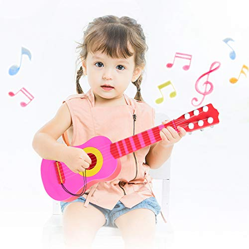 WEY&FLY Kids Toy Guitar 6 String, Baby Kids Cute Guitar Rhyme Developmental Musical Instrument Educational Toy for Toddlers Ukulele (Pink)