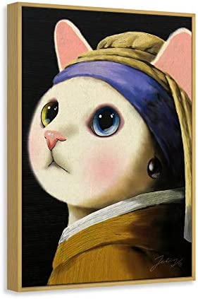 アートパネル オランダの画家 ジョン・ワーミアの真珠のピアスをつけた猫 名画を模倣する猫 インテリア 壁飾り HDしゃしん ボーダー付きの完成品 装飾軽くて取り付けやすい