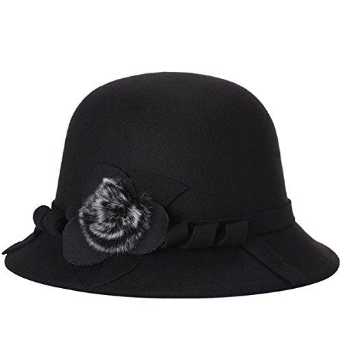 EUBUY Women Vintage Wool Felt Bowler Hat Winter Fedora Hat Floppy Hat Wide Brim Cloche Hat Derby Cap Black Fancy Wool Scarves