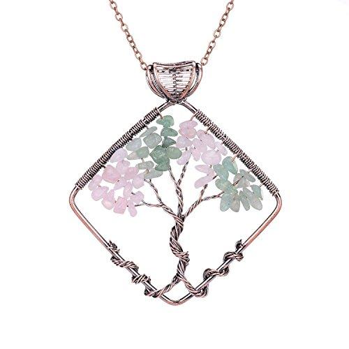 (sedmart Tree of Life Pendant Rose Quartz Green Aventurine Square Necklace Healing Gemstone Jewelry)