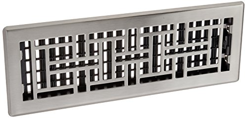 Decor Grates AJH414-NKL 4-Inch by 14-Inch Oriental Floor Register, Brushed Nickel (Floor Brushed Steel Nickel Plated)