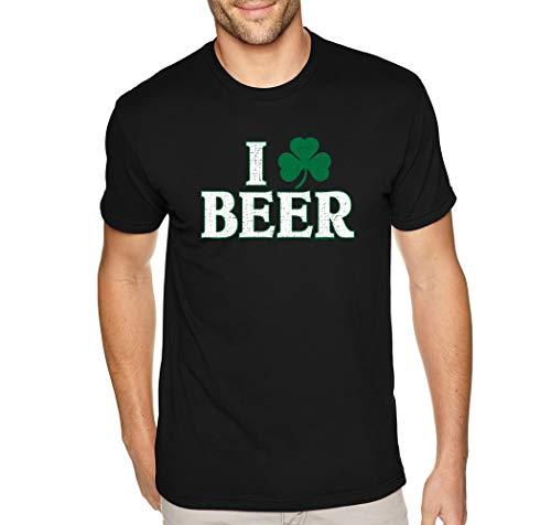- XtraFly Apparel Men's I Love Beer Shamrock St. Patrick's Irish Crewneck Short Sleeve T-Shirt Black