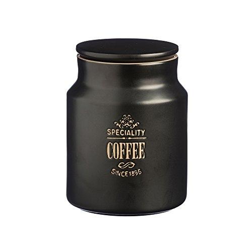 Price and Kensington Stoneware Specialty Coffee Storage Jar, 32-Fluid Ounces, Black (Airtight Crock)