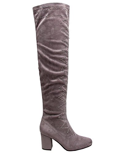 Knee Boots Heels Shoes Thigh High Block Grey Over Studded Womens The Ladies Diamante qtPxIEvaFw