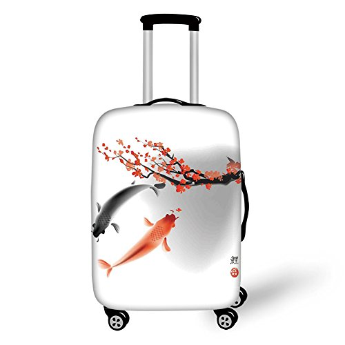 Travel Luggage Cover Suitcase Protector,Japanese,Koi Carps Couple Swimming with Cherry Blossom Sakura Branch Culture Design,Vermillion Grey,for Travel by iPrint