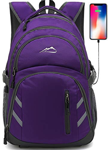 Backpack Bookbag for School College Student Laptop Travel Business with USB Charging Port Laptop Compartment Luggage Straps Anti theft Night Light Reflective (Purple) (Best Computers For College Students)