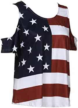 2435bd5ade5211 Triskye Women Summer Lace Sleeveless American Flag Tank Tops Fashion Casual  Blouse T Shirt