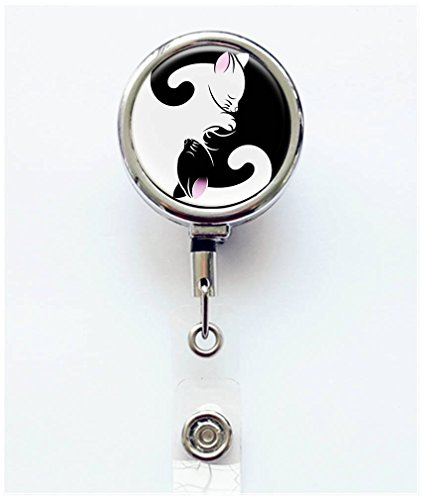 RhyNSky Yin Yang Pattern Retractable Badge Holder Reel Clip with Alligator Clip for Name Tag ID Card Keys, Silvery, C1169 ()
