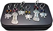 Removable Locking Stitch Markers for Knitting and Crocheting - Colourful Sheep and Yarn Charms - Set of 6 Prog