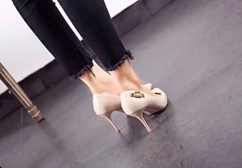 All High The Is Fashion Tip White Lady Leisure Shoes Work Heels Elegant Spring Buckle With 38 MDRW Single Fine Match 8Cm ZwfB1