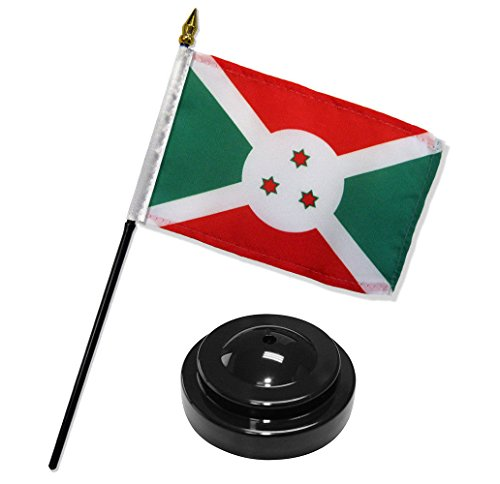 ALBATROS Burundi 4 inch x 6 inch Flag Desk Set Table Stick with Black Base for Home and Parades, Official Party, All Weather Indoors Outdoors