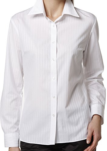 LEONIS Women's Easy Care Dobby Long Sleeve Shirt White Stripe (XXS [0]) [ 34631 ] Collared Button Down Work Workwear Office Business Blouse Tops Non Iron Wrinkle Free V-Neck (Stripe Dobby Classic Shirt)