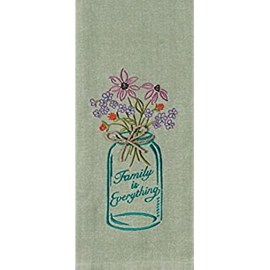 Kay Dee Designs Kitchen Embroidered Chambray Mason Jar Tea Towel, Family is Everything - Sage