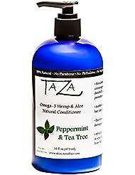 Premium Taza Natural Omega-3 Hemp & Aloe Peppermint Tea Tree Conditioner, 16 fl oz ♦ Healthy Hair ♦ Contains: Hemp Seed & Coconut Oils, Aloe Leaf Juice, Pro Vitamin B5, Hydrolyzed Wheat Protein
