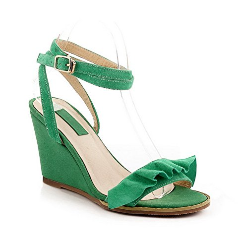 AllhqFashion Women's Open Toe High Heels Solid Buckle Sandals Green FX948c6qeY