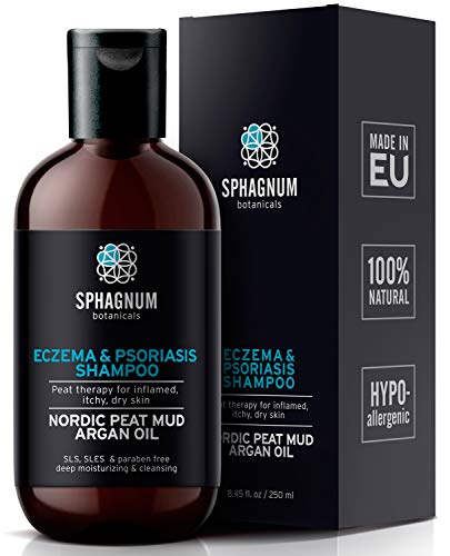 Natural Eczema and Psoriasis Shampoo - Peat Mud Treatment 100% Free from Cancerous Coal Tar. Sulfate Free, Itchy Scalp Relief, Anti Dandruff & Dermatitis. Deep Moisturizing & Cleansing With Argan Oil...