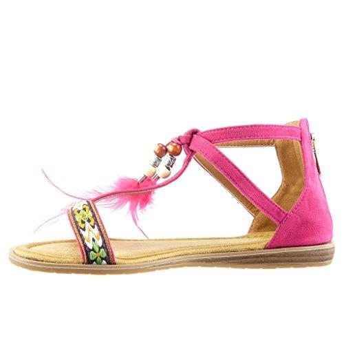 Angkorly Damen Schuhe Sandalen - Bommel - Bestickt Keilabsatz 1.5 cm Fushia