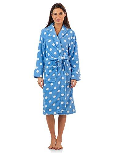 Casual Nights Women's Fleece Plush Robe-Blue/Dots-Large