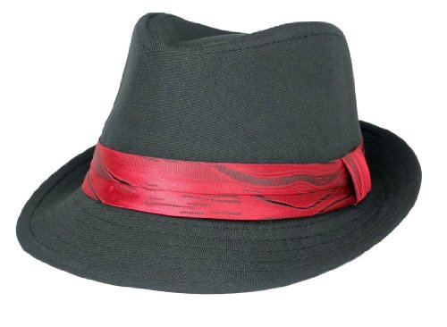 Subtle Addition Little Boys Fedora Hats (Black and Red) (Red And Black Fedora Hat)