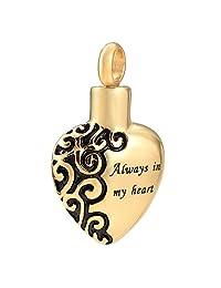 constantlife Always in My Heart Hypoallergenic Stainless Steel Cremation Urn Pendant Necklace Keepsake Jewelry for Women