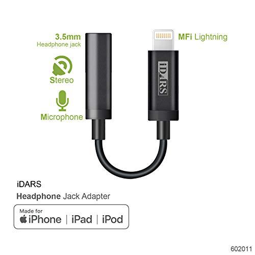 iDARS Lightning to 3.5mm Headphone Jack Adapter -MFi Certifi