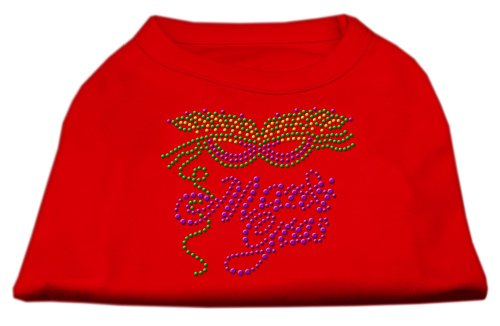Mardi Gras Rhinestud Dog Shirt Red L (14)
