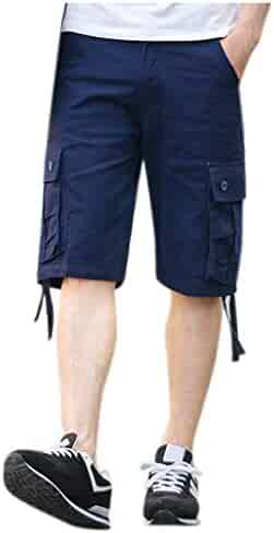 d8033ae591 wodceeke Summer Men's Solid Color Cargo Shorts Loose Casual Multi-Pocket  Classic Fit Short