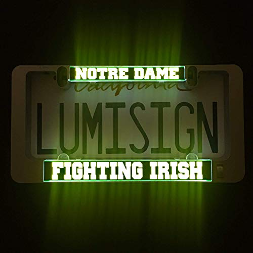 (LumiSign - The Auto Illuminated License Plate Frame | Lights Up While You Brake | Installs in Seconds | No Wires, Battery Operated | Interchangeable Inserts (Notre Dame) )