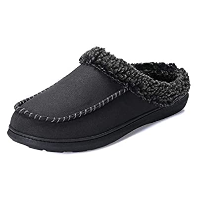 PENNYSUE Men's Cozy Moccasin Suede Slippers with Wool-Like Soft Plush Lined Memory Foam House Anti-Skid Shoes Indoor Outdoor Slip on Clogs | Slippers