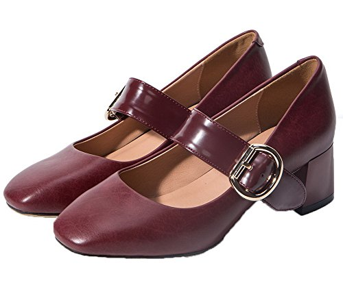 Odomolor Women's PU Square-Toe Kitten-Heels Pull-On Assorted Color Pumps-Shoes Claret D4jPqn5