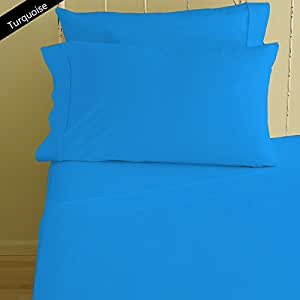 NEW FOUR { 4 } Pieces Sheet Set Super Soft 600 Thread Counts 27 Inch Deep Pocket Solid Pattern 100% Egyptian Cotton { Twin XL Size / Turquoise Color }