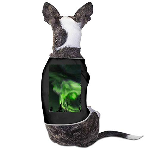 StyleDirect Cute Pet Dog Breathable Print Vest,Aurora Cat Clothing for Spring Summer(Black)-M