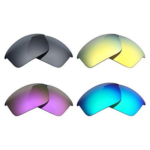 Mryok 4 Pair Polarized Replacement Lenses for Oakley Bottle Rocket Sunglass - Black IR/24K Gold/Plasma Purple/Emerald - Bottle Glasses Rocket