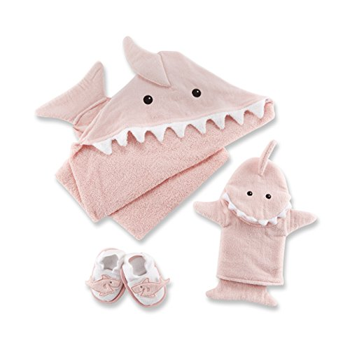 Baby Aspen Let The Fin Begin 4 Piece Bath Time Gift Set, Hooded Towel, Baby Shower Gift, Newborn, 0-9 Months, Pink