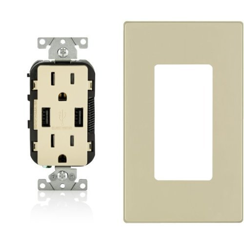 2-Pack Leviton T5632-I 15-Amp USB Charger/Tamper Resistant Duplex Receptacle, with 2 Screwless Wallplates, Ivory -