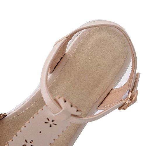 Amoonyfashion Dames Open Teen Kitten-hakken Zacht Materiaal Stevige Gesp Wiggen-sandalen Beige