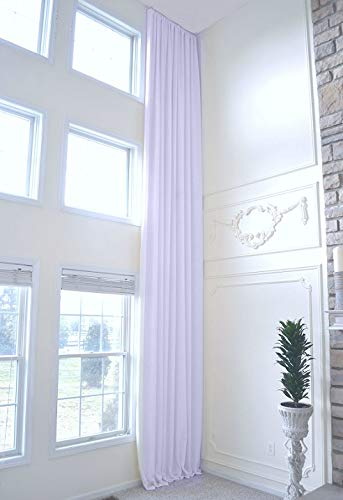 Ikiriska Extra Long Natural Linen Drapes Set of 2 for high Ceiling Custom Made 16 17 18 20 24 feet Long 9 ft Wide 2 Story Long Grey Off White Beige Free SWATCHES (White, 18 ft) (Drapes Silk Custom)