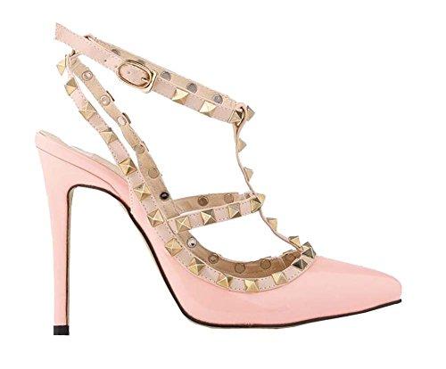 Mode sexy Nieten hochhackigen Sandalen Damen Schuhe Rosa