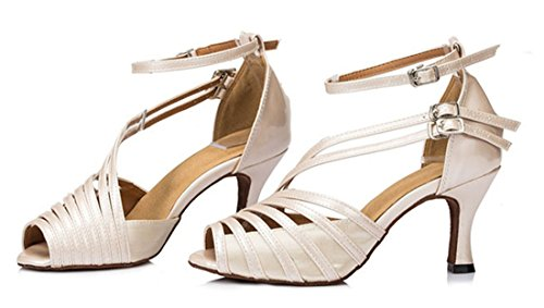 Tda Femmes Cheville Sangle Boucle Peep Toe Mode Salsa Tango Salle De Bal Latine Moderne Danse Chaussures De Mariage 7.5cm Talon Beige