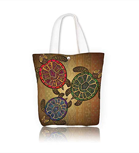 Canvas Shoulder Hand Bag with three turtles women Large Work tote Bag Shoulder Travel Totes Beach W15xH14xD4.7 INCH