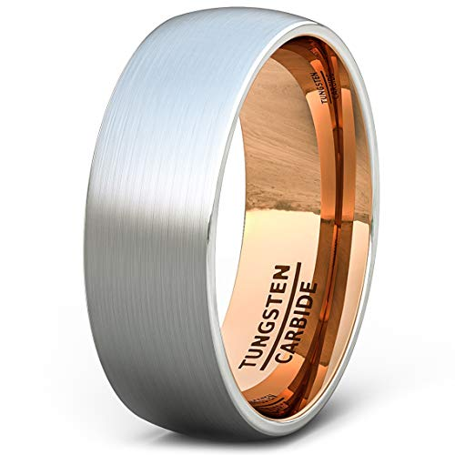 Duke Collections Mens Wedding Band 8mm Brushed Tungsten Ring Rose Gold Inside Dome Comfort Fit (10.5)