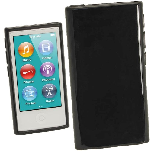 iGadgitz Black Glossy Durable Crystal Gel Skin (TPU) Case Cover for Apple iPod Nano 7th Generation 7G 16GB + Screen Protector