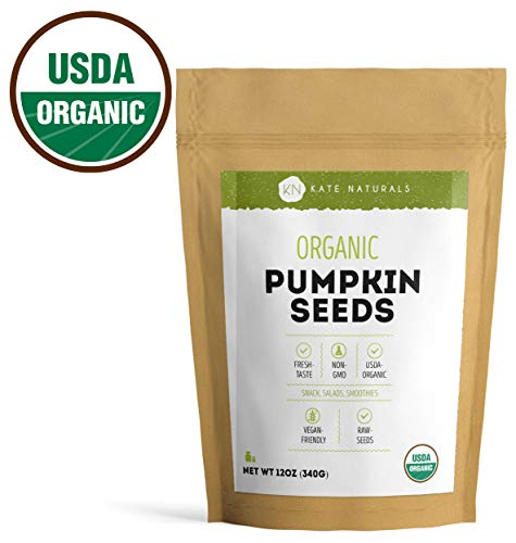 - Organic Pumpkin Seeds Raw by Kate Naturals. Perfect for Snack, Salads & Smoothies. Unsalted. USDA Organic and NON-GMO. Large Resealable Bag. 1-Year Guarantee. (12oz).