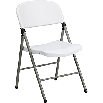 Flash Furniture HERCULES Series 330 Lb. Capacity White Plastic Folding Chair  With Gray Frame