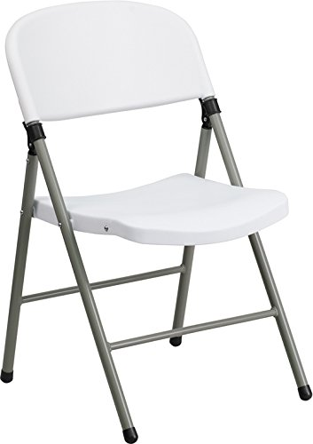 Flash Furniture HERCULES Series 330 lb. Capacity White Plastic Folding Chair with Gray Frame by Flash Furniture