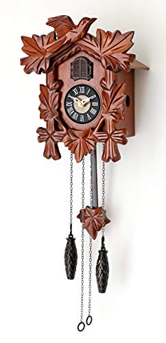 Bavarian Cherry Finish - Polaris Clocks Small Cuckoo Clock with Hand Carved Birds, Weights and Swinging Pendulum (Cherry)