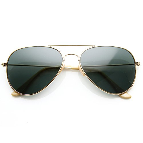 SWG EYEWEAR Classic Aviator Nickel Plated Gold Frame Dark Green G-15 Lens Sunglasses ()