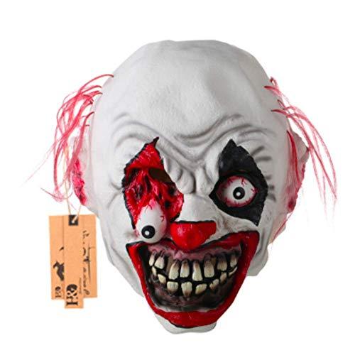 (Creepy Lifelike Scary Halloween Mask Negan 2pac Prosthetic Burglar Horned Gory (Clown)
