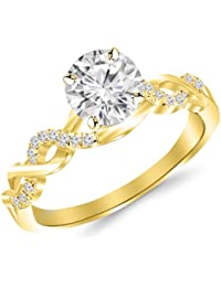 021fc9493 1.13 Carat Twisting Infinity Gold and Diamond Split Shank Pave Set Diamond  Engagement Ring 14K White